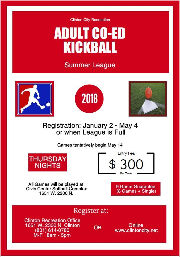 Summer Kickball Flyer 2018