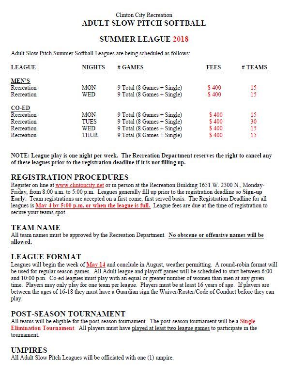 Adult Softball Flyer (Summer 18) page 1