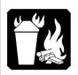 A black and white illustration of a trash can and wood burning.